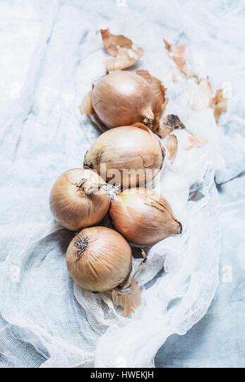 Studio shot, overhead view of onions on muslin - Stock Image