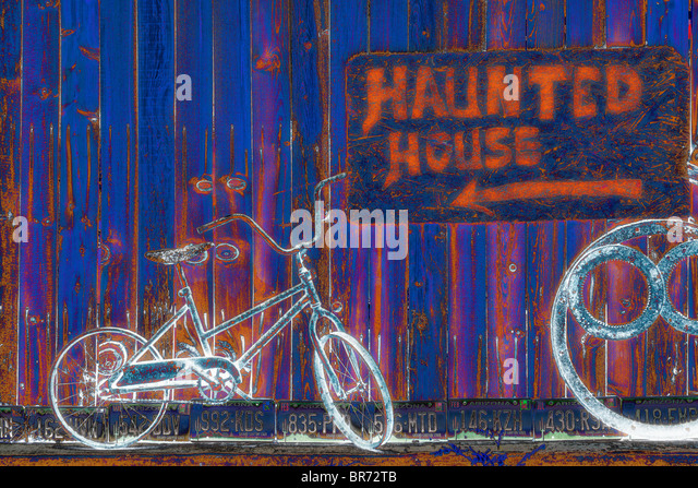 'Haunted house' and bicycles - Stock Image