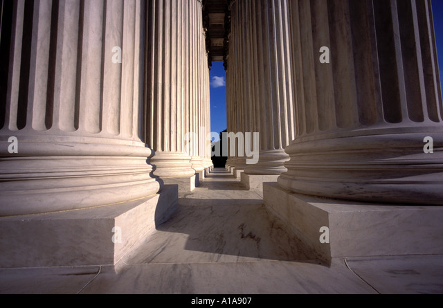 Columns of Supreme Court building, Washington D.C. - Stock Image