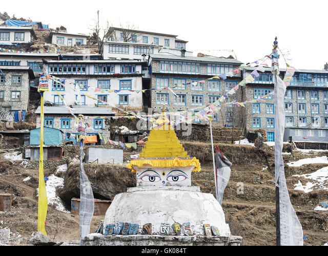 Shrine in Namche, Nepal - Stock Image