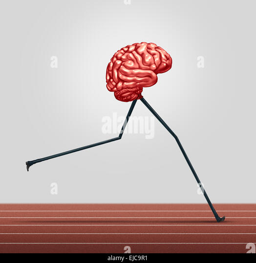 Fast brain and memory training concept as a human thinking organ with legs running on a track as a health care symbol - Stock Image
