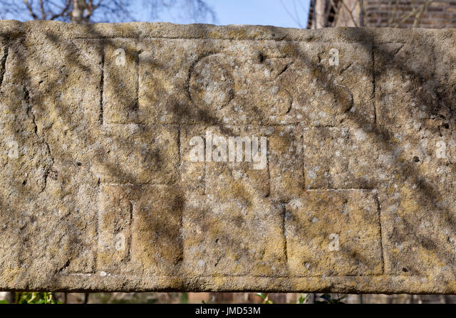 Lintel from former corn mill, Luddenden, West Yorkshire - Stock Image