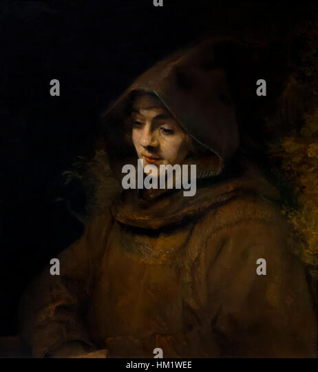 Rembrandt's Son Titus in a Monk's Habit, by Rembrandt, 1660, oil on canvas, Rijksmuseum, Amsterdam, Netherlands, - Stock Image