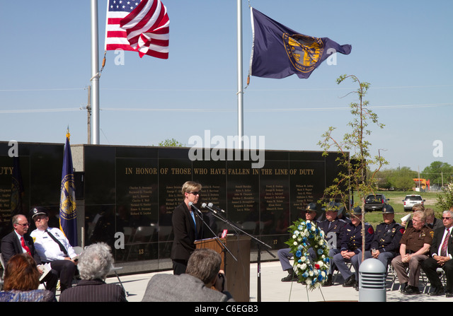 Law Enforcement Memorial ceremony, Grand Island, Nebraska 2011. State Patrol, color guard, honoring the fallen. - Stock Image