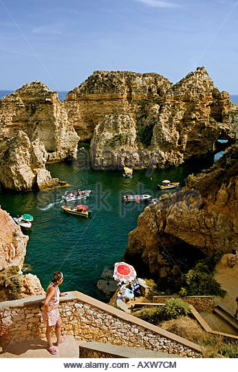 Portugal algarve near Lagos Ponta da Piedade Atlantic coast cliff - Stock Image