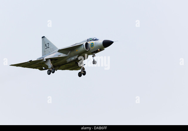 Swedish air force SAAB Viggen JA37, SE-DXN at RAF Waddington Airshow 2013 - Stock Image