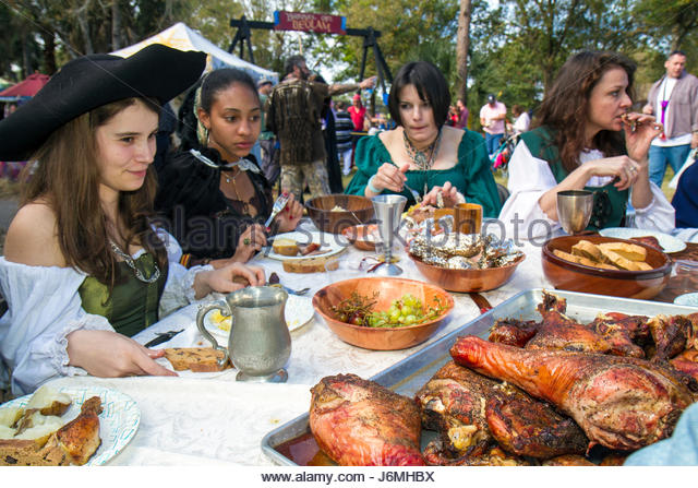 Deerfield Beach Florida Quiet Waters Park Florida Renaissance Festival costume teen girl Black female student turkey - Stock Image