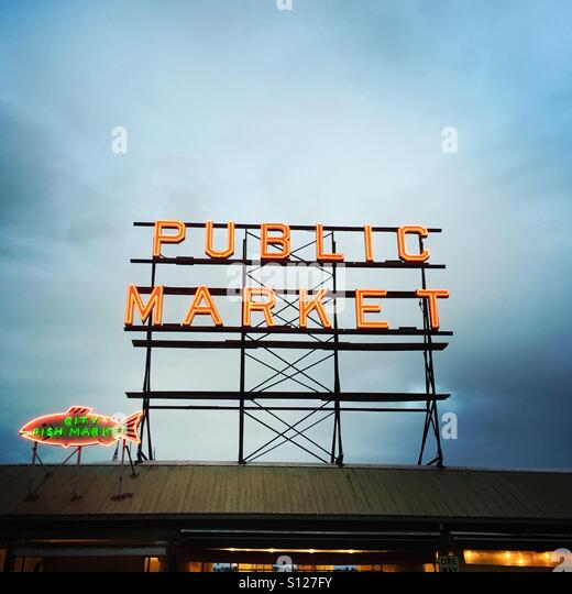 The public market sign at Pikes place market in Seattle, Washington USA. - Stock Image