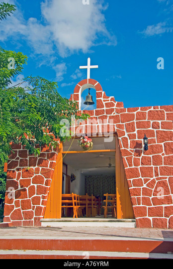 Cozumel Mexico El Cedral Mayan Archaeological Site new red church - Stock Image