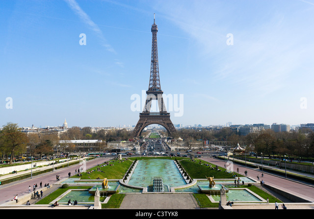 The Eiffel Tower on the Champ de Mars viewed from the Trocadero, Paris, France - Stock Image