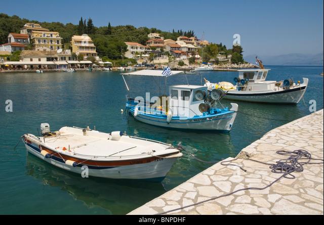 Corfu harbor stock photos corfu harbor stock images alamy for Inshore fishing boats