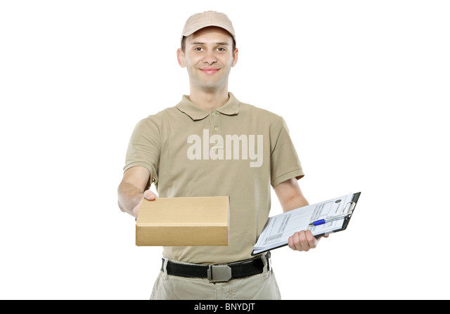 A delivery man bringing a package and holding out a clipboard - Stock Image