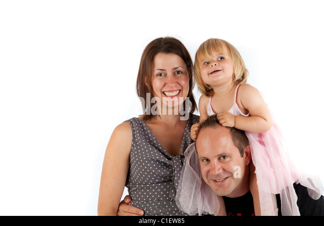 Happy family hanging out together - Stock Image