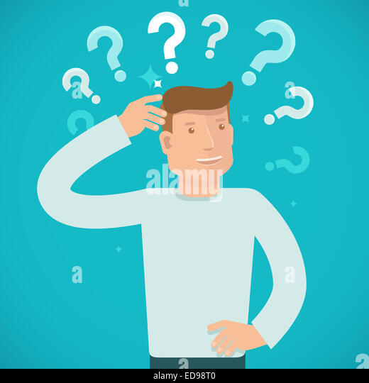 Male character solving problem and making decision - business illustration in flat style - Stock Image