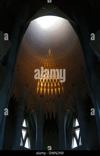 Light well, Sagrada Familia Basilica, Barcelona, Catalonia, Spain, Europe - Stock Image