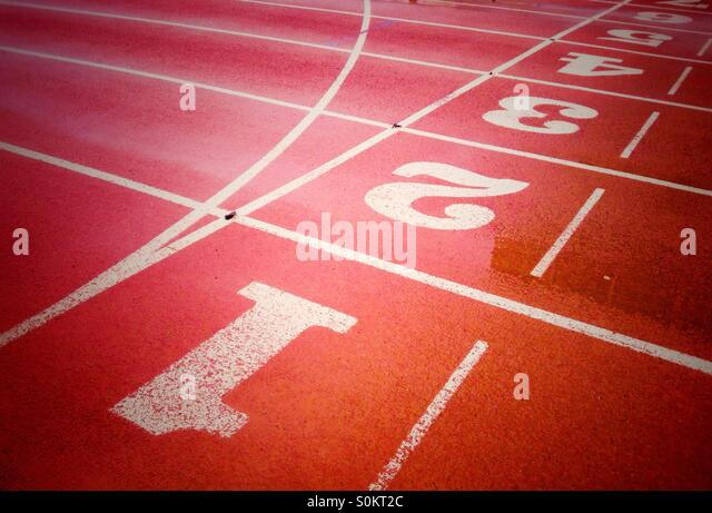 Running lanes of running track - Stock Image