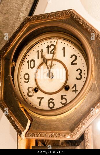 Nagasaki, Atomic bomb museum, broken clock showing 11:02, the time of the blast - Stock Image