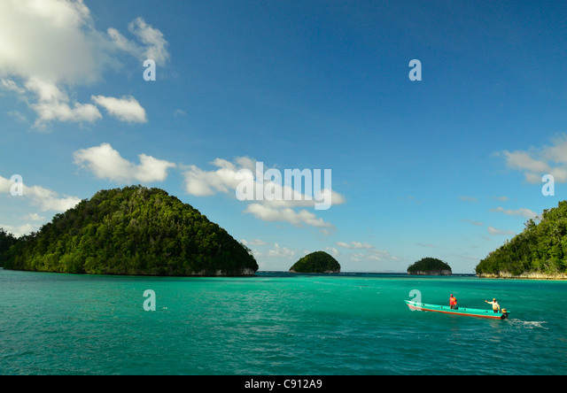 Raja Ampat islands near West Papua, Indonesia in the coral triangle, Pacific Ocean. - Stock Image