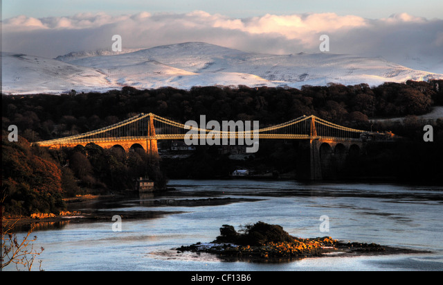 Anglesey Menai Bridge in Snow, winter - Stock Image