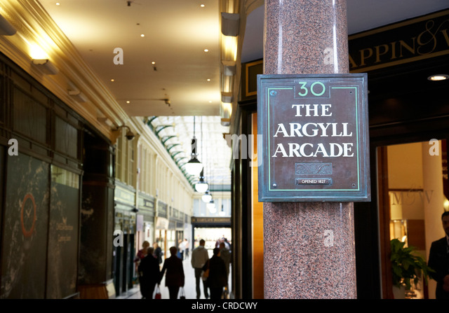 argyll arcade victorian arcade mostly jewellers shops glasgow scotland uk - Stock Image
