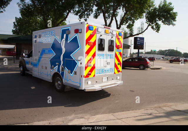Ambulance, rural volunteer fire department, equipment - Stock Image