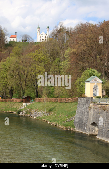 Bad Toelz, river Isar, Upper Bavaria, Germany. Photo by Willy Matheisl - Stock Image