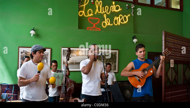 Cuban music in bar and Cuba Restaurants Old Havana - Stock Image