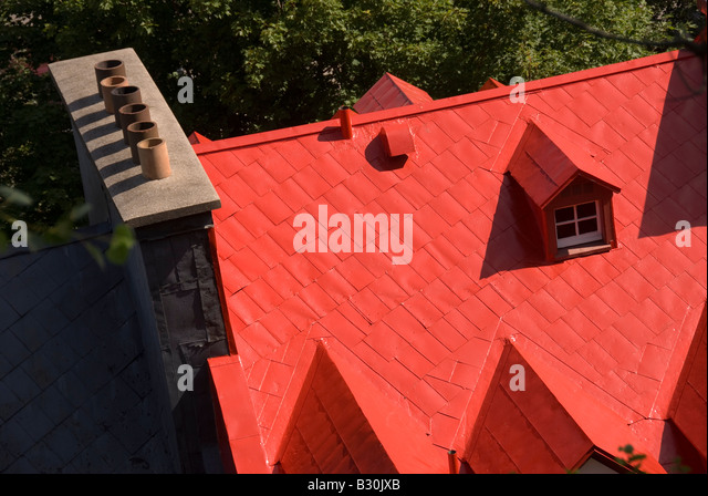 Aerial of red roof in summer in Quebec City Canada Vieux Québec, the old historic city - Stock Image