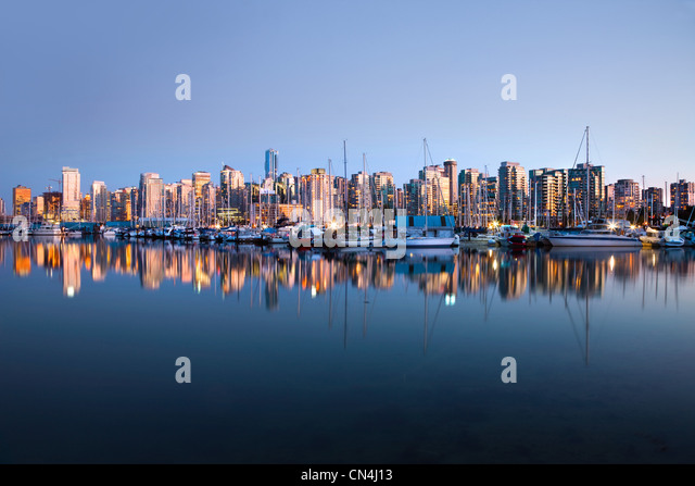 Vancouver skyline from Stanley Park - Stock Image
