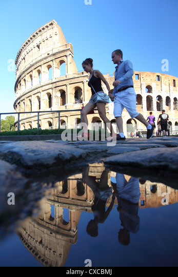 Rome, colosseum in September, colosseo - Stock Image