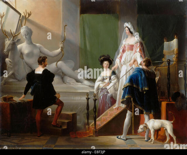 Diane de Poitiers Visiting Jean Goujon. Artist: Fragonard, Alexandre-Évariste (1780-1850) - Stock-Bilder