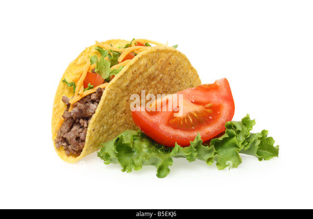 Taco lettuce and tomato cutout on white background - Stock Image