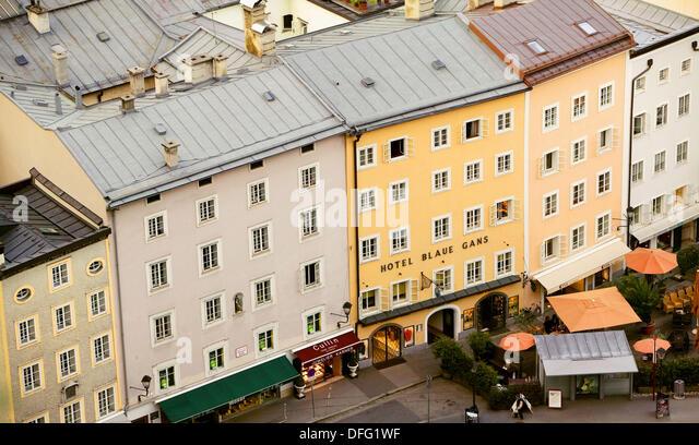 Historical bourgeois houses, Salzburg. Austria - Stock Image