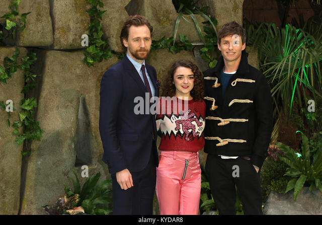 London, UK. 14th January, 2018. Cast, Tom Hiddleston, Maisie Williams, Eddie Redmayne, Early Man - World premiere, - Stock Image