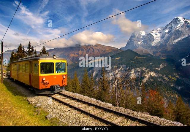 Murren fenicular Train - Switzerland - Stock Image