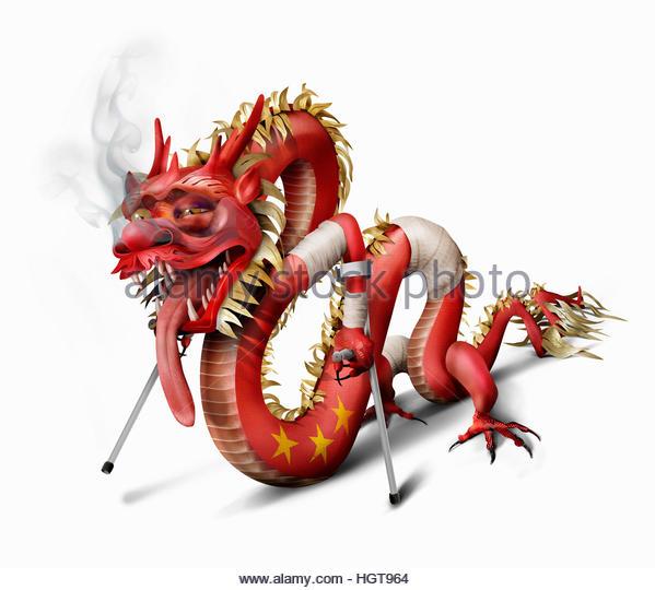 Unhealthy Chinese dragon - Stock-Bilder