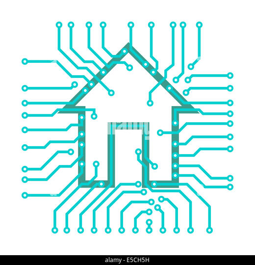 Connected home symbol conceptual illustration of PCB circuits with a house symbol isolated on white background. - Stock Image