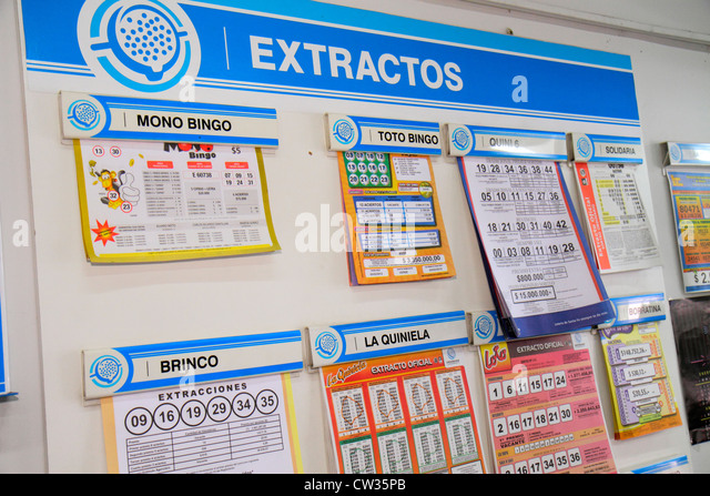 Argentina Buenos Aires Avenida de Mayo national lottery gambling gaming winning numbers results bulletin board probability - Stock Image