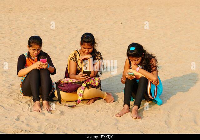 India, Maharashtra, Mumbai (Bombay), Chowpatty beach, cultural moment - Stock Image