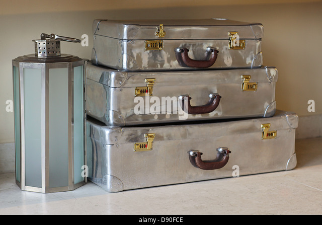 Old fashioned stainless steel suitcases for travel - Stock-Bilder