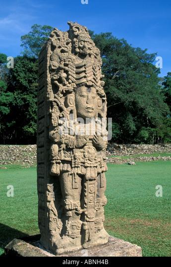 Honduras Copan Ruinas Maya ruins Mayan art sculpture vertical Stela A replica outdoor museum central america - Stock Image