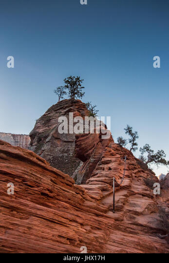 Chains Along Spine to Angels Landing in Early Spring Morning - Stock Image