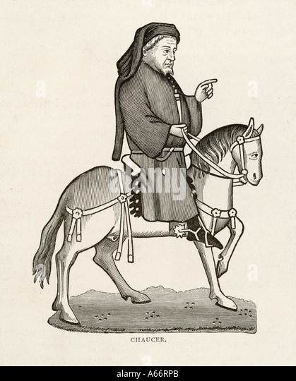 Chaucer On Horse - Stock Image