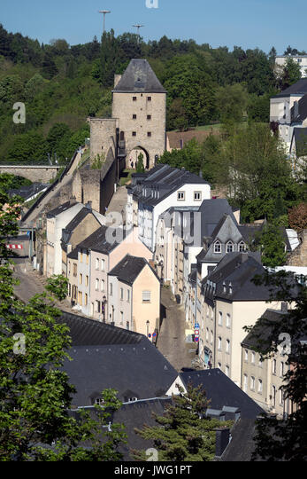Luxembourg City - Ville de Luxembourg. The Grund area of the old town viewed from the city walls. - Stock Image
