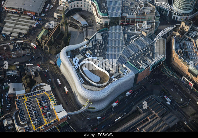 An aerial view of the Bull Ring Shopping Centre in Birmingham, West Midlands - Stock Image