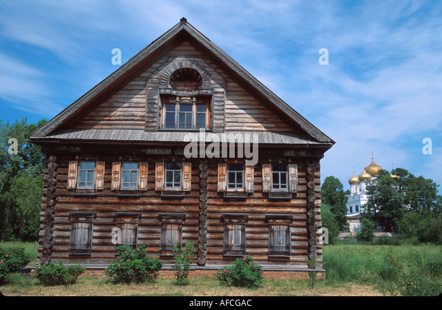 Russia former Soviet Union Kostroma Open Air Museum of Wooden Architecture handcrafted peasant home - Stock Image