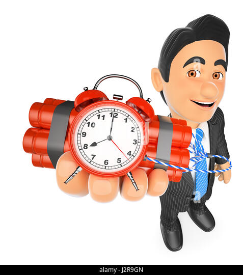 3d business people illustration. Businessman holding a time bomb. Isolated white background. - Stock Image