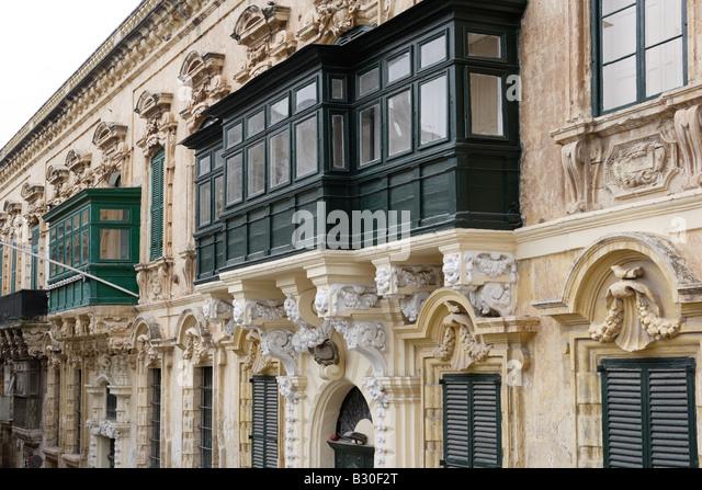 Valletta malta balconies stock photos valletta malta for Closed balcony
