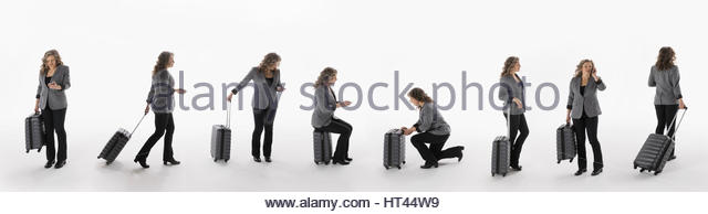 Sequence traveling businesswoman with briefcase against white background - Stock-Bilder