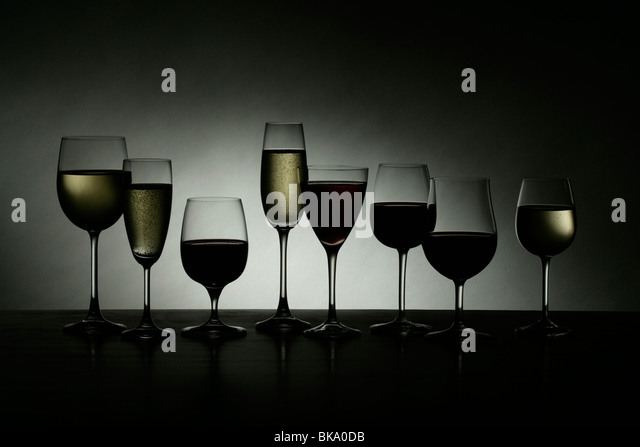 Silhouette of wine glasses - Stock Image